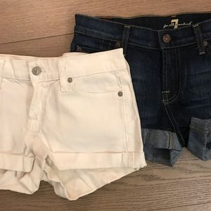 7 for All Mankind White and Dark Blue Jean Shorts